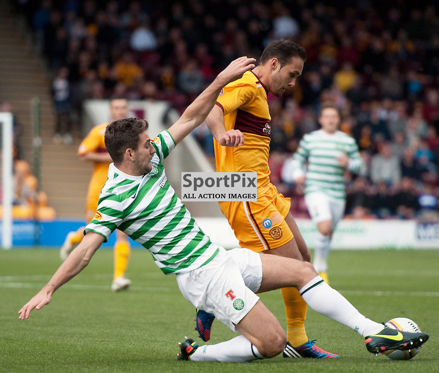 Charlie Mulgrew and Tom Hateley in action. The Clydesdale Bank Scottish Premier League, Season 2012/13, Motherwell v Celtic, Fir Park, 29 September 2012 Angela Isac | StockPix.eu