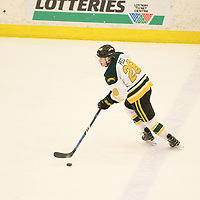 3rd year defence man Landon Peel (28) of the Regina Cougars in action during the Men's Hockey home game on February 3 at Co-operators arena. Credit: Arthur Ward/Arthur Images