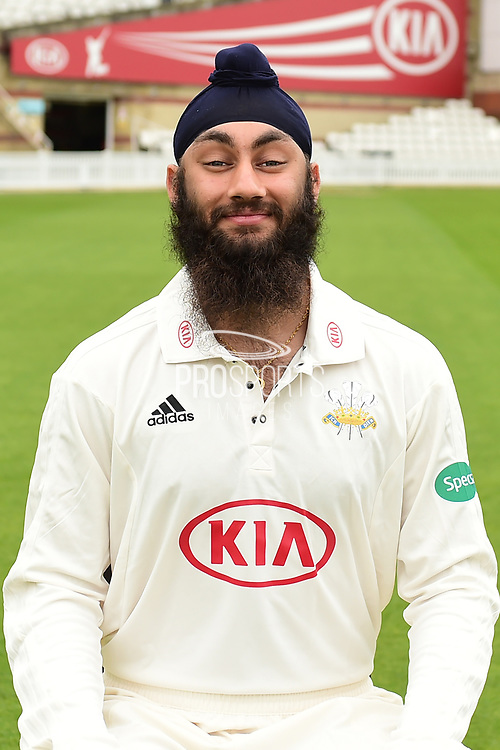 Amar Virdi portrait during the Surrey CCC Photocall 2017 at the Oval, London, United Kingdom on 4 April 2017. Photo by Jon Bromley.