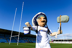 Big Chief with the Exeter Chiefs Foundation collection bucket - Rogan/JMP - 08/11/2019 - RUGBY UNION - Sandy Park - Exeter, England - Gallagher Premiership.