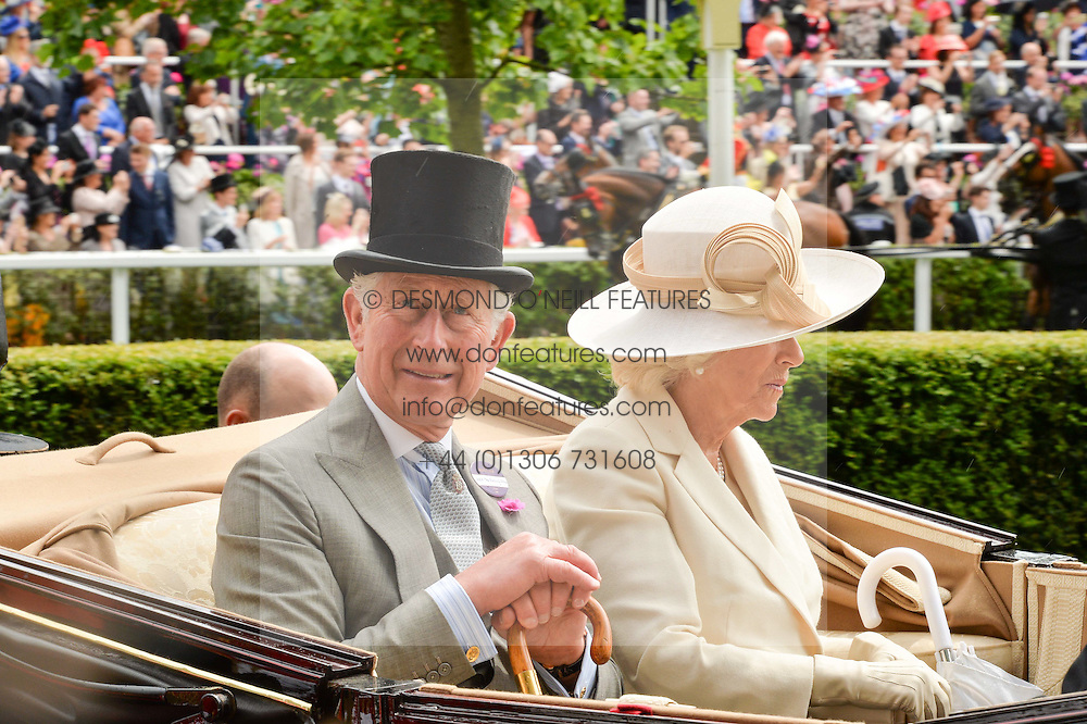 HRH The PRINCE OF WALES and HRH The DUCHESS OF CORNWALL at day two of the Royal Ascot 2016 Racing Festival at Ascot Racecourse, Berkshire on 15th June 2016.