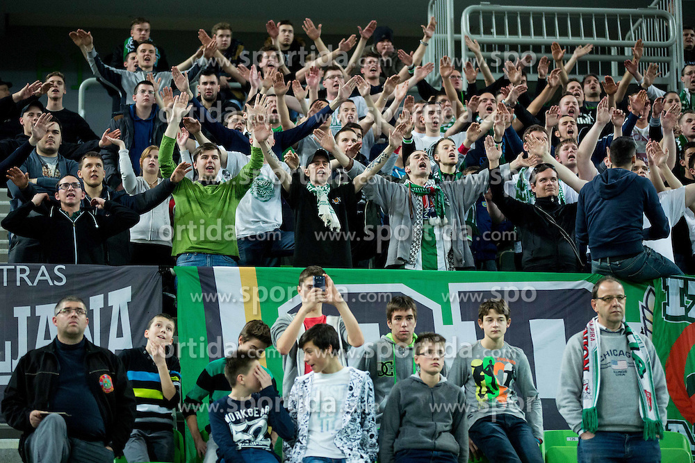 Green Dragons, fans of Olimpija during basketball match between KK Union Olimpija Ljubljana and FC Bayern Muenchen in Round #3 of EuroCup LAST32 2014/15, on January 20, 2015 in Arena Stozice, Ljubljana, Slovenia. Photo by Vid Ponikvar / Sportida