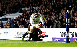 Elliot Daly of England is tackled just short of the try line by Noa Nakaitaci of France - Mandatory by-line: Robbie Stephenson/JMP - 04/02/2017 - RUGBY - Twickenham - London, England - England v France - RBS Six Nations