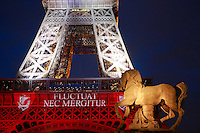 eiffel tower in red, white, and blue