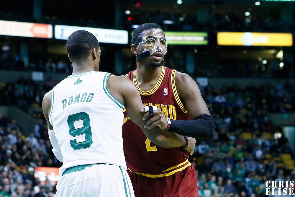 19 December 2012: Boston Celtics point guard Rajon Rondo (9) defends on Cleveland Cavaliers point guard Kyrie Irving (2) during the Boston Celtics 103-91 victory over the Cleveland Cavaliers at the TD Garden, Boston, Massachusetts, USA.