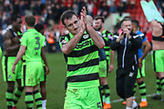 Forest Green Rovers Lee Collins(5) during the EFL Sky Bet League 2 match between Cheltenham Town and Forest Green Rovers at LCI Rail Stadium, Cheltenham, England on 14 April 2018. Picture by Shane Healey.
