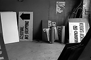 A bunch of signs in a workshop, Glastonbury, Somerset, 1989
