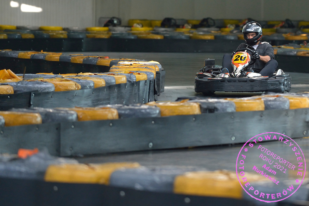 Jerzy Janowicz of Poland while GoKarts Racing on F1 Karting Track four days before the BNP Paribas Davis Cup 2014 between Poland and Croatia in Warsaw on March 31, 2014.<br /> <br /> Poland, Warsaw, March 31, 2014<br /> <br /> Picture also available in RAW (NEF) or TIFF format on special request.<br /> <br /> For editorial use only. Any commercial or promotional use requires permission.<br /> <br /> Mandatory credit:<br /> Photo by © Adam Nurkiewicz / Mediasport