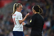 Referee Pernilla Larsson speaks to Toni Duggan (11) of England during the FIFA Women's World Cup UEFA Qualifier match between England Ladies and Wales Women at the St Mary's Stadium, Southampton, England on 6 April 2018. Picture by Graham Hunt.