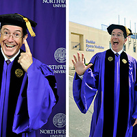 Comedian Stephen Colbert is in a joking mood while receiving an honorary degree from Alma Mater Northwestern university in Evanston. Photo by Jim Prisching