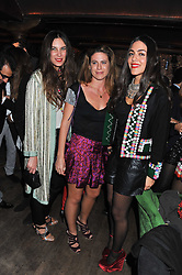 Left to right, TATIANA SANTO DOMINGO, FRANCESCA VERSACE and DANA ALIKHANI at a party to celebrate the opening of the Muzungu Sisters Pop Up Store at Momo - an ethically sourced fashion brand  held at Momo, 25 Heddon Street, London on 27th October 2011.