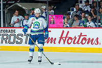 REGINA, SK - MAY 19: Beck Malenstyn #19 of Swift Current Broncos warms up against the Acadie-Bathurst Titan at the Brandt Centre on May 19, 2018 in Regina, Canada. (Photo by Marissa Baecker/CHL Images)