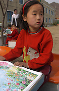 North Korea:.North Hwanghae Province..Kindergarten at Yonsan. Unicef supplies the learning books....©Jeremy Horner.15 Mar 2004