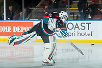 KELOWNA, CANADA - OCTOBER 5: Roman Basran #30 of the Kelowna Rockets takes a shot during warm up against the Victoria Royals  on October 5, 2018 at Prospera Place in Kelowna, British Columbia, Canada.  (Photo by Marissa Baecker/Shoot the Breeze)  *** Local Caption ***