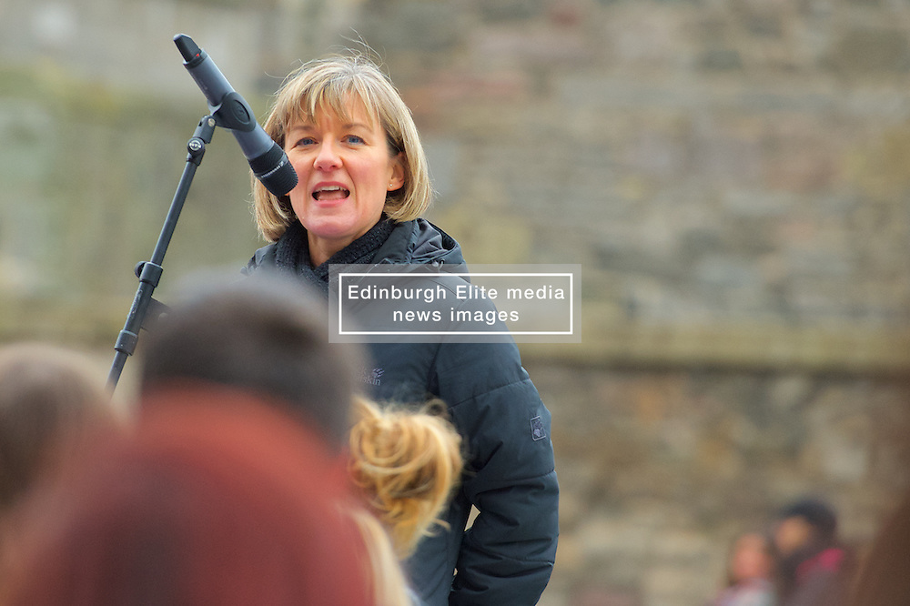 Stop the Cuts, Student Demonstration, outside The Scottish Parliament, Hollyrood, Edinburgh, Speakers: Mary Senior UCU (University & College Union) 23rd March 2016<br /> (c) Brian Anderson | Edinburgh Elite media