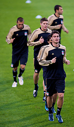 MARSEILLE, FRANCE - Monday, September 15, 2008: Liverpool's Albert Riera training ahead of the opening UEFA Champions League Group D match against Olympique de Marseille at Stade Velodrome. (Photo by David Rawcliffe/Propaganda)
