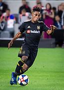 Los Angeles FC forward Latif Blessing (7) dribbles the ball during a MLS soccer match against FC Cincinnati in Los Angeles, Saturday, April 13, 2019. LAFC defeated FC Cincinnati 2-0. (Ed Ruvalcaba/Image of Sport)