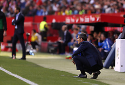 February 23, 2019 - Seville, Madrid, Spain - Ernesto Valverde (FC Barcelona) seen in action during the La Liga match between Sevilla FC and Futbol Club Barcelona at Estadio Sanchez Pizjuan in Seville, Spain. (Credit Image: © Manu Reino/SOPA Images via ZUMA Wire)