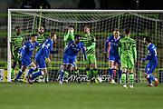 Carlisle United's Josh Kayode(23) scores a goal 0-4 and celebrates during the EFL Sky Bet League 2 match between Forest Green Rovers and Carlisle United at the New Lawn, Forest Green, United Kingdom on 28 January 2020.