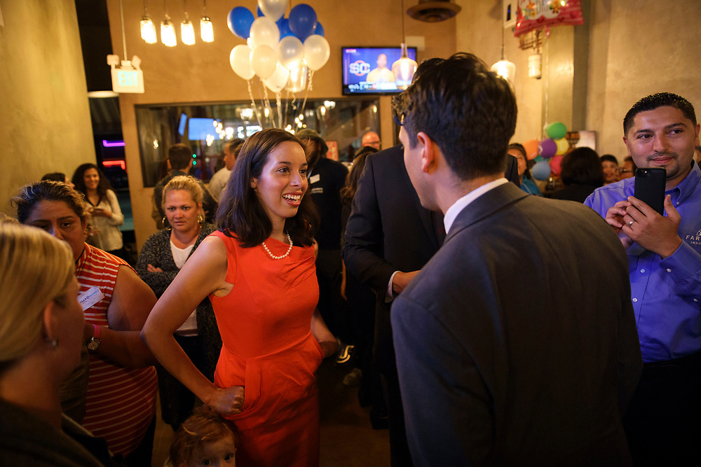 Kelly Gonez is joined by supporters during an LAUSD School Board District 6 election night event for candidate Kelly Gonez at Magaley's Tamales on Tuesday, May 16, 2017 in San Fernando, Calif. Candidates backed by charter school supporters won their first majority on the Los Angeles Board of Education as Kelly Gonez - a teacher at a charter school - collected more votes than Imelda Padilla to win District 6. © 2017 Patrick T. Fallon (Patrick T. Fallon/ For The Los Angeles Times)