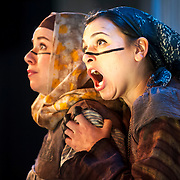 "January 7, 2013 - New York, NY : From left, Amelia Watkins and Rachel Calloway perform in a dress rehearsal of Beth Morrison's ""Sumeida's Song,"" an opera adapted from Tawfiq El-Hakim's ""The Song of Death,"" at HERE Arts Center in Manhattan on Monday evening. CREDIT: Karsten Moran for The New York Times"