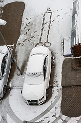 © Licensed to London News Pictures. 01/02/2019. London, UK. A snow drawing in the shape of a penis in a car park in Alperton, North West-London. Snow continues to fall in central London  this morning. Photo credit: Ray Tang/LNP