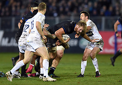 Josh McNally of Bath Rugby takes on the Clermont Auvergne defence - Mandatory byline: Patrick Khachfe/JMP - 07966 386802 - 06/12/2019 - RUGBY UNION - The Recreation Ground - Bath, England - Bath Rugby v Clermont Auvergne - Heineken Champions Cup