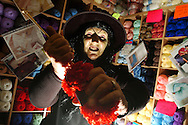 Stabbing a blood-red ball of wool with a pair of knitting needles, Veronica Hendley joined other stall holders at Derby's Market Hall as they got in to the spirit of Halloween. Those taking part came dressed as ghouls, ghosts, and scary witches, for a frightening event setup by Derby historian and ghost expert Richard Felix.