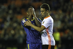 April 6, 2017 - Valencia, Comunidad Valenciana, Spain - Valencia CF vs Real Celta de Vigo - La Liga Matchday 30 - Estadio Mestalla, in action during the game -- Beauvue (right) reacts after missing an opportunity for Celta de Vigo, Munir  (Credit Image: © Vwpics/VW Pics via ZUMA Wire/ZUMAPRESS.com)