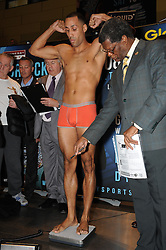 © Licensed to London News Pictures. 15/11/2013<br /> James Degale <br /> WBC Silver World Title fight weigh-in (Today 15.11.2013) between<br /> James Degale  (Orange Shorts) V  Dyah Davis (Black Shorts) <br /> Fight night at Bluewater Glow  Arena Kent on (Saturday 16th November)<br /> Photo credit :Grant Falvey/LNP