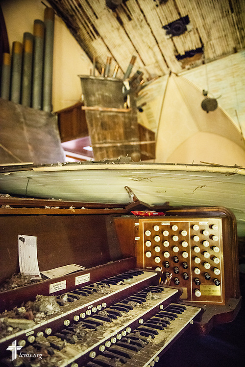 The damaged organ at Immanuel Lutheran Church, St. Charles, Mo., on Monday, June 4, 2018. The entire baptismal side of the sanctuary interior ceiling collapsed May 29 at 1.29 a.m. in the morning. No one was injured in the collapse. LCMS Communications/Erik M. Lunsford