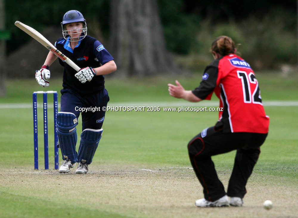 Auckland's Sarah Hungerford plays the ball back through the legs of Canterbury's Sarah Burke during the State League cricket match between Canterbury Magicians and Auckland Hearts at Mainpower Oval, Rangiora, New Zealand on Sunday 7th January, 2007. Auckland won the match by 32 runs. Photo: Hagen Hopkins/PHOTOSPORT.