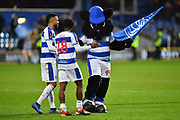 The Queens Park Rangers mascot celebrates with Jordan Cousins (8) of Queens Park Rangers and Aramide Oteh (18) of Queens Park Rangers at full time after a 2-1 win over Leeds United during the The FA Cup 3rd round match between Queens Park Rangers and Leeds United at the Loftus Road Stadium, London, England on 6 January 2019.