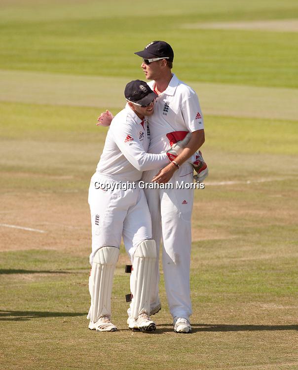 Matt Prior hugs Stuart Broad after taking the last wicket during the second npower Test Match between England and Pakistan at Edgbaston, Birmingham.  Photo: Graham Morris (Tel: +44(0)20 8969 4192 Email: sales@cricketpix.com) 09/08/10