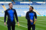 Mitch Pinnock (11) of AFC Wimbledon and Andy Barcham (17) of AFC Wimbledon walking the pitch during the EFL Sky Bet League 1 match between Portsmouth and AFC Wimbledon at Fratton Park, Portsmouth, England on 1 January 2019.