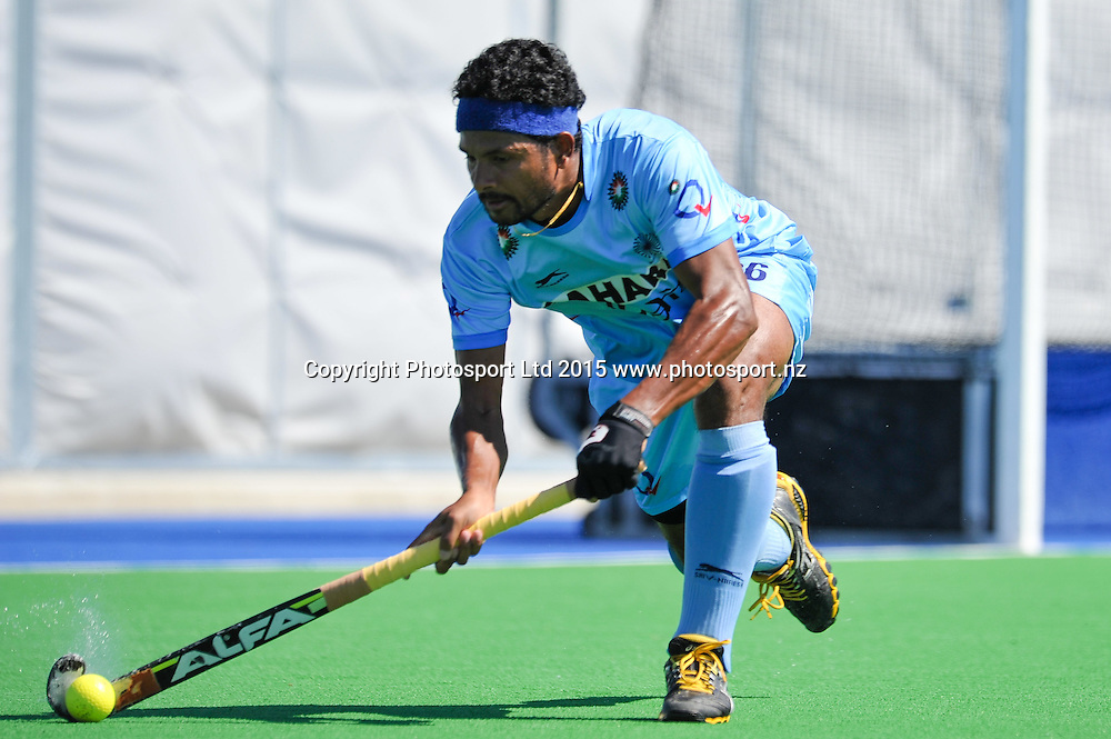 Birendra Lakra of India in action during the Mens Hockey International, 2015 South Island Tour game between the New Zealand Black Sticks V India, at Marist Park, Christchurch, on the 11th October 2015. Copyright Photo: John Davidson / www.photosport.nz