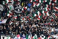 Tifosi della Juventus <br /> Juventus Supporters <br /> Fireworks exploded inside the stadium injured multiple fans. Before the match, Torino fans attacked the Juventus bus breaking a window<br /> Torino 26-04-2015, Stadio Olimpico, Football Calcio 2014/2015 Serie A TIM, Torino - Juventus, Foto Insidefoto