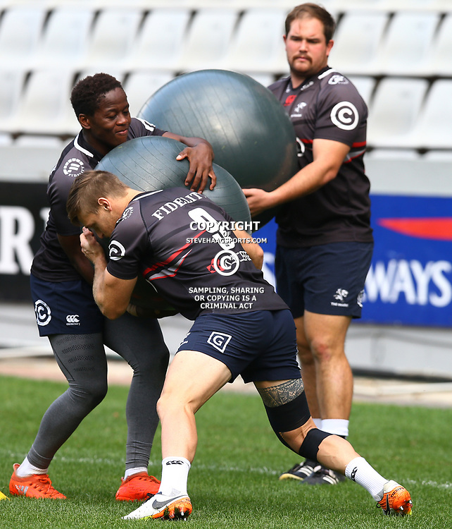 Inny Radebe with Cameron Wright during The Cell C Sharks captain's run at Growthpoint Kings Park in Durban, South Africa. 3rd August 2017(Photo by Steve Haag)<br /> <br /> images for social media must have consent from Steve Haag