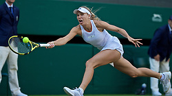 LONDON, ENGLAND - Wednesday, July 3, 2019: Caroline Wozniacki (DEN) during the Ladies' Singles second round match on Day Three of The Championships Wimbledon 2019 at the All England Lawn Tennis and Croquet Club. (Pic by Kirsten Holst/Propaganda)