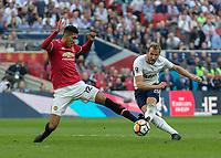 Football - 2017 / 2018 FA Cup - Semi-Final: Manchester United vs. Tottenham Hotspur<br /> <br /> Harry Kane (Tottenham FC)  with a rare and late strike at the Manchester United goal at Wembley Stadium.<br /> <br /> COLORSPORT/DANIEL BEARHAM