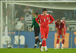 MONCHENGLADBACH, GERMANY - Wednesday, October 15, 2008: Wales' Gareth Bale looks dejected after conceding a goal to Germany during the 2010 FIFA World Cup South Africa Qualifying Group 4 match at the Borussia-Park Stadium. (Photo by David Rawcliffe/Propaganda)