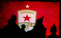 Sacramento Republic FC fans enter Papa Murphy Field near the lighted LED sign as the as the Sacramento Republic FC host the Seattle Sounders in a friendly match, Thursday Feb 15, 2018.  <br /> photo by Brian Baer