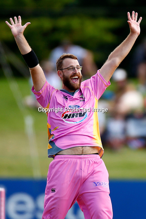Daniel Vettori is successful in his appeal for Jamie How's wicket during the HRV Cup match between the Northern Knight v Central Stags. Men's domestic Twenty20 cricket. Blake Park, Mt Maunganui, New Zealand. Thursday 5 January 2012. Ella Brockelsby / photosport.co.nz