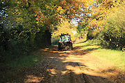 Tractor on sandy track autumnal trees, Sutton, Suffolk, England, UK