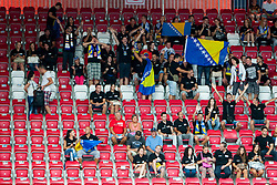 Fans of Bosni and Herzegovina before friendly match between National teams of Slovenia and Bosnia and Herzegovina for Eurobasket 2013 on August 16, 2013 in Podmezakla, Jesenice, Slovenia. (Photo by Urban Urbanc / Sportida.com)