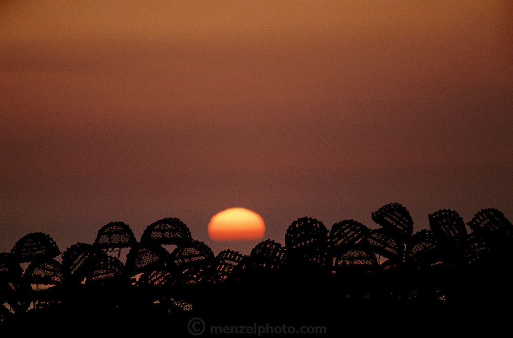 Nova Scotia, Canada..Cape Sable Island, Clark's Harbor. Lobster traps in silhouette on the dock with setting sun.