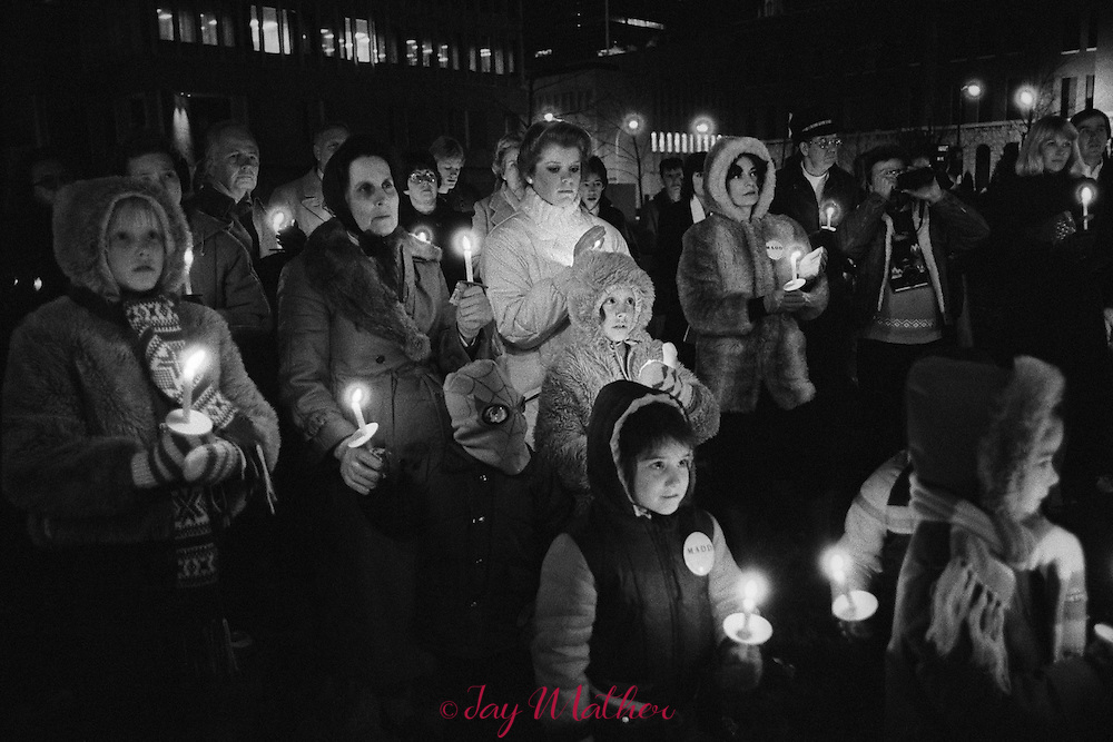 A candlelight vigil sponsored by Mothers Against Drunk Driving chapter in Louisville, Kentucky.   December 12, 1982.