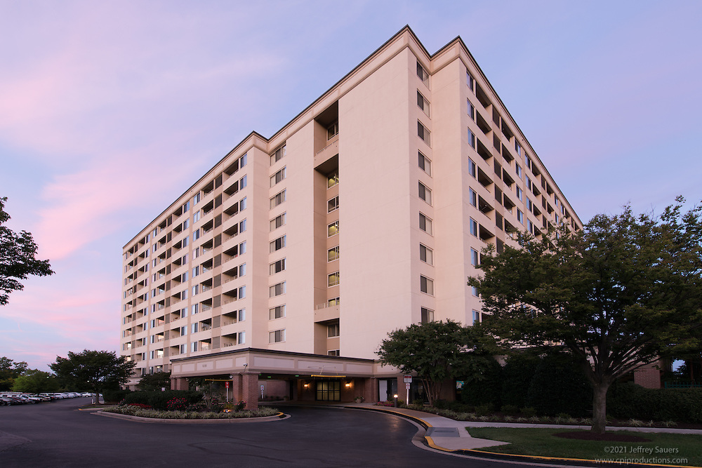 Exterior image of Laurel Maryland apartments The Avondale by Jeffrey Sauers of Commercial Photographics, Architectural Photo Artistry in Washington DC, Virginia to Florida and PA to New England