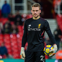 Liverpool goalkeeper Simon Mignolet (22) during the Premier League match between Stoke City and Liverpool<br /> (c) John Baguley | SportPix.org.uk