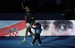 Marin Cilic walks out for the start of his match against Andy Murray during day two of the Barclays ATP World Tour Finals at The O2, London.